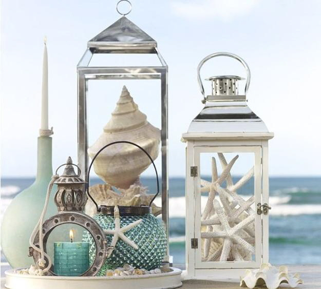 View our seashells and lanterns on the beach